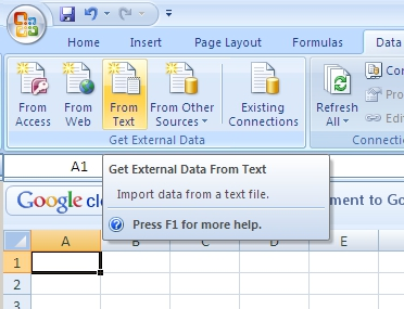 Importing the CSV file into Microsoft Excel