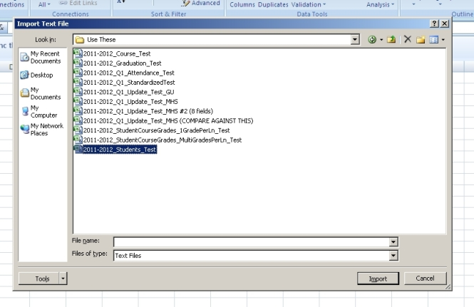 Select the CSV file to be imported.
