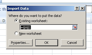 Select where the imported file's data will go.